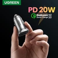 UGREEN PD Auto Ladegerät Schnell Ladung 4,0 3,0 QC USB Ladegerät für Xiaomi QC 4,0 QC 3,0 20W Typ C PD Auto Lade für iPhone 11 X Xs 8