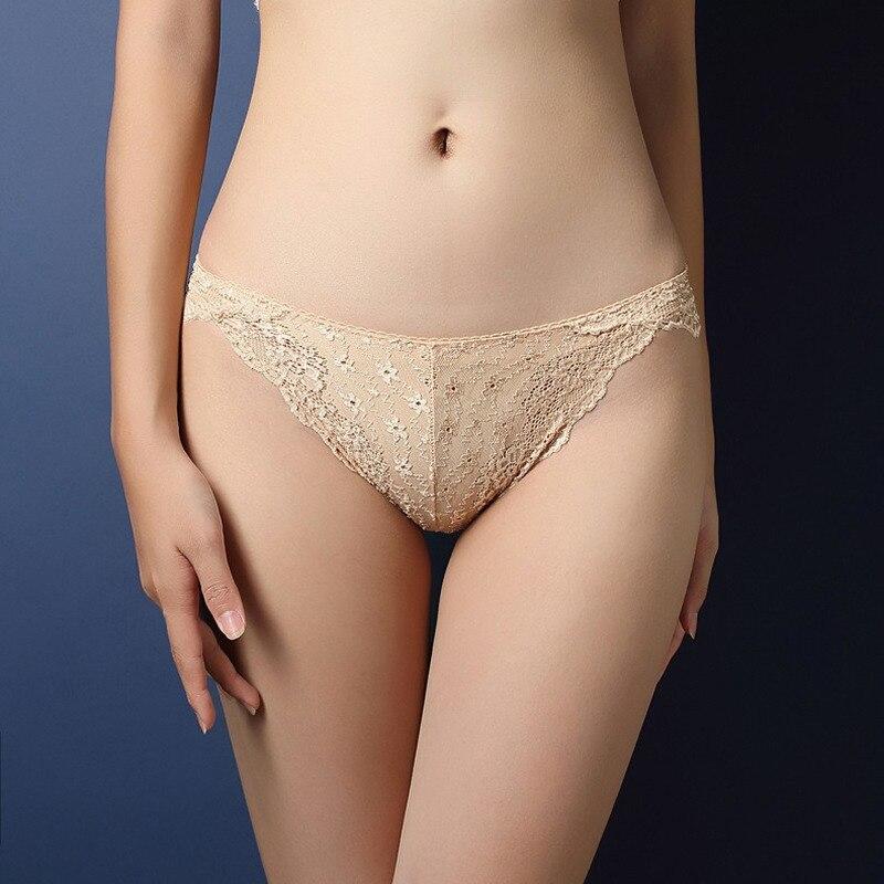 Jeseca New Sexy Women Luxury Panties Lace Transparent Briefs Low Waist T-Shape Plus Size Underwear Seamless Panties Lingerie