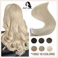 Полностью Блестящая лента в 100% Remy человеческие волосы невидимые прямые двухсторонние светлые удобные шелковистые натуральные ленты ins для ...