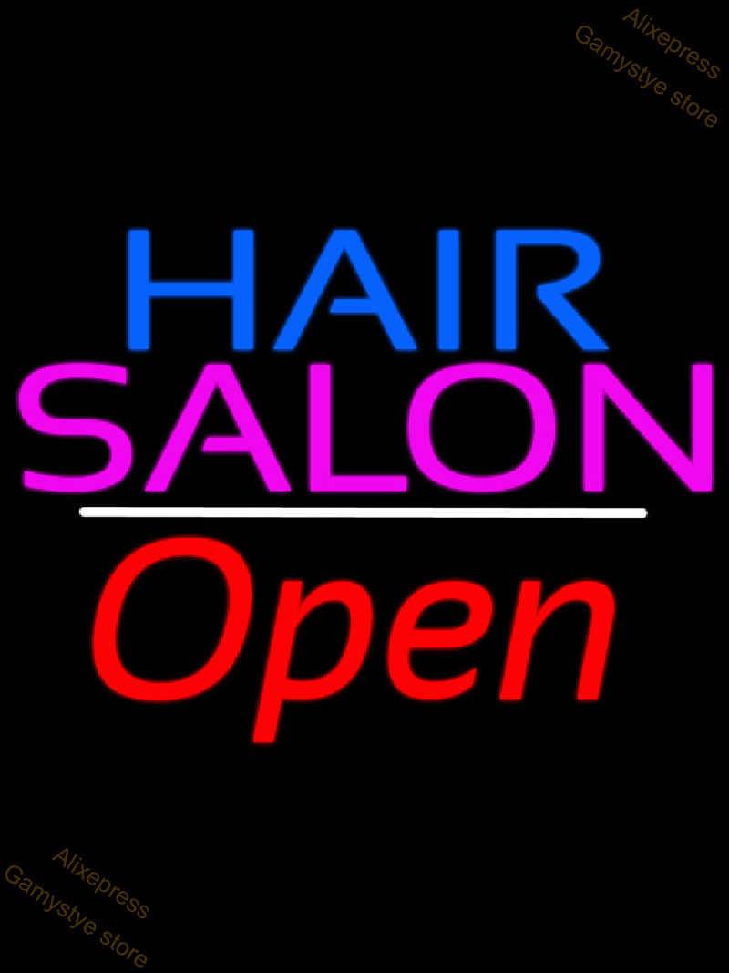 Neon Zeichen Blau Haar Salon Logo Öffnen Weiße Linie Mit Scissor Hohe Heels Mit Hufeisen Porträt Studio Oval Mit Rot grenze Farol