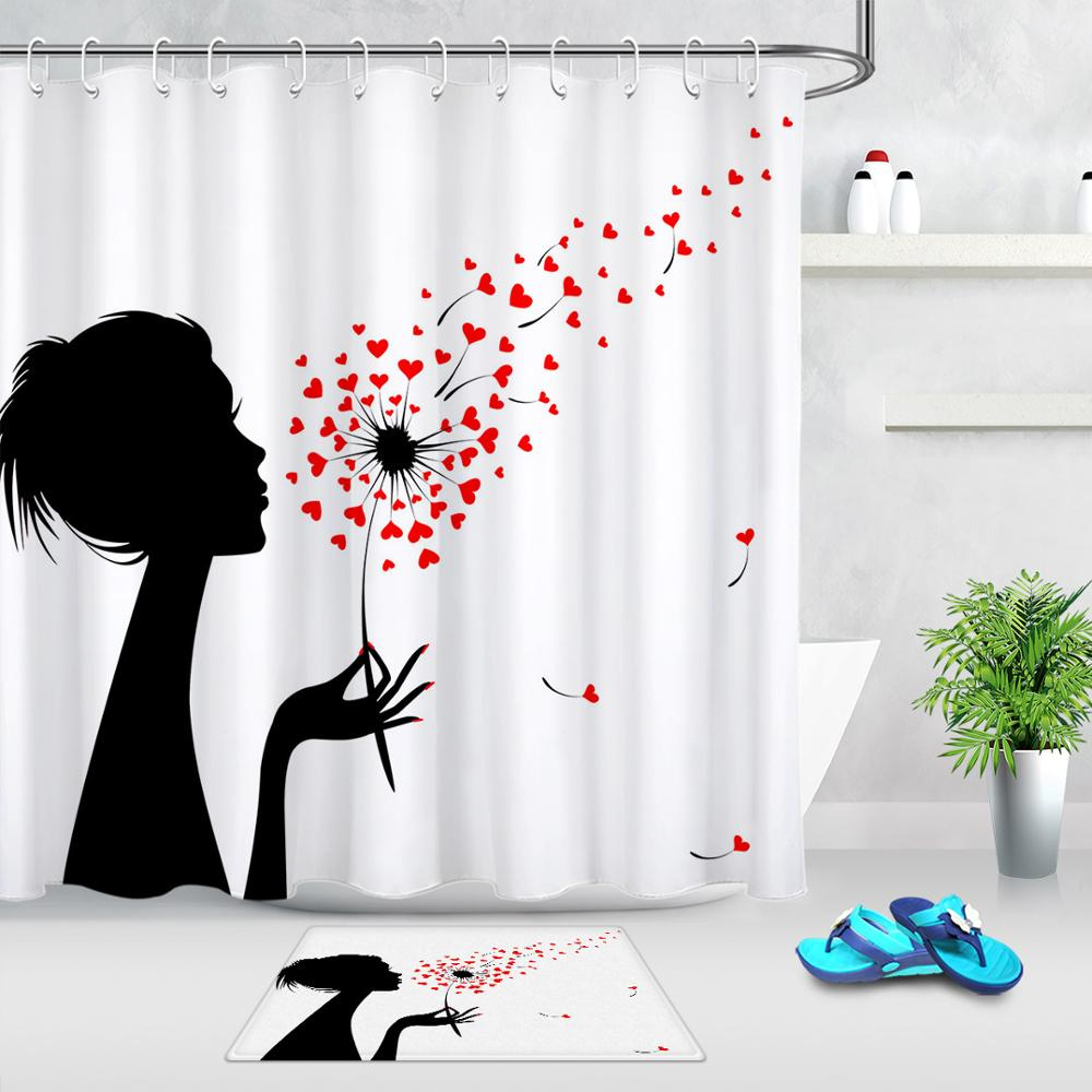 valentine s day romantic creative shower curtains set waterproof red heart black and white shower curtain for bathroom with hook