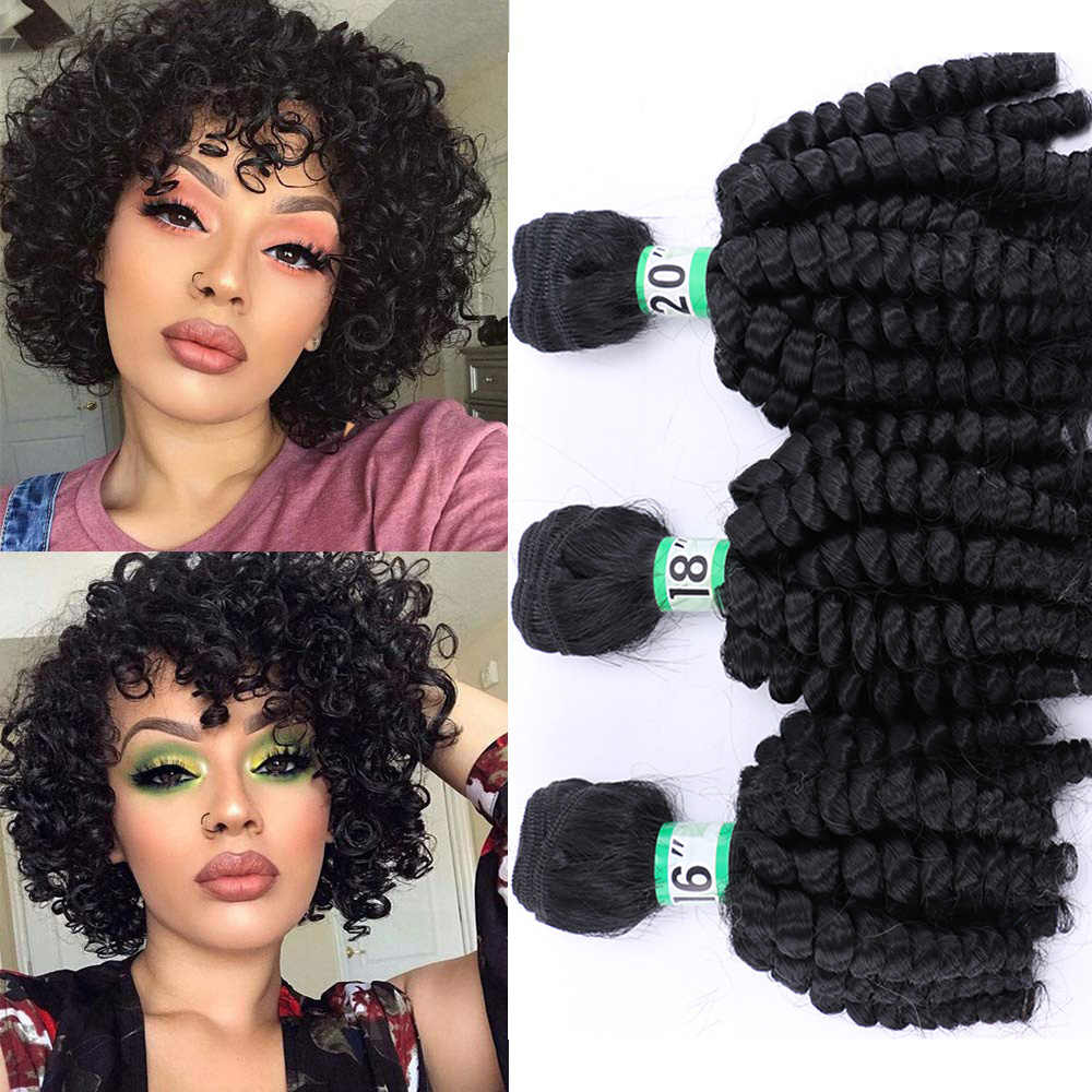 Natifah Bouncy Curly Bundles Synthetic Hair Weave Bundles 16-20Inch 1 3 4 Bundles Hair Weaving Black Brown for Woman