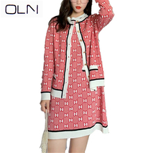 2019 Autumn dress+Vest OLN Korean vestidos Knitted Sweater Skirt Two-Piece Small Fragrance Short Sleeve Knit Dress
