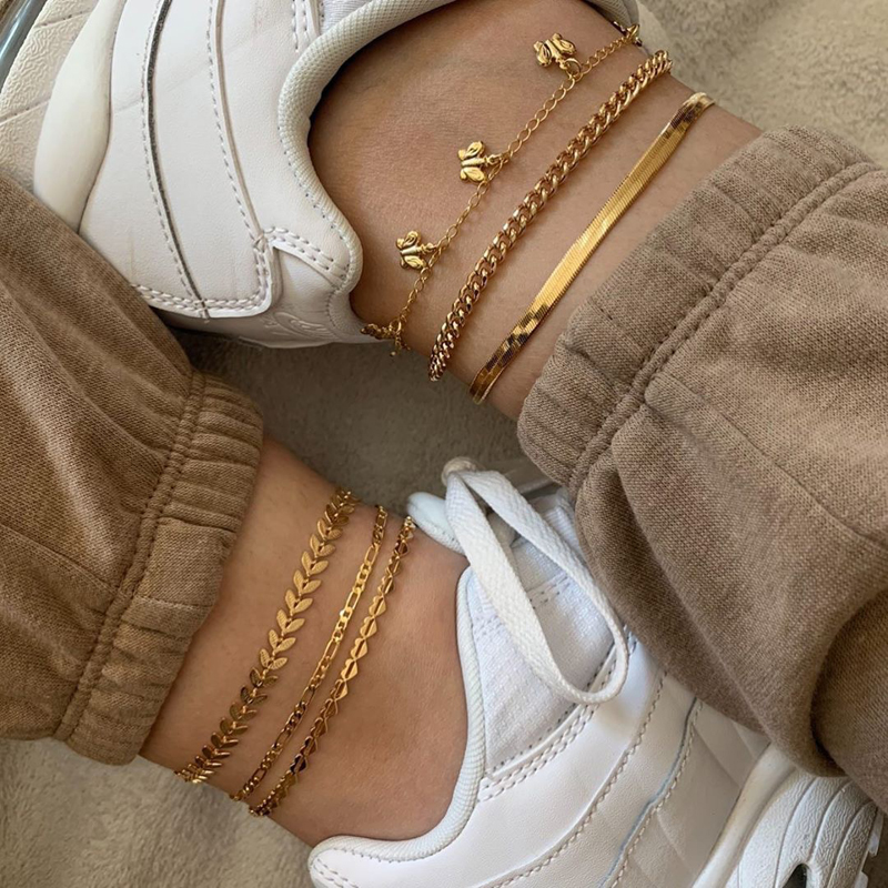 New Boho Butterfly Anklets For Women Men Summer Vintage Gold Color Chain Ankle Bracelet Foot Jewelry