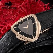 BISON DENIM Genuine Leather Mens Belt Automatic Buckle Cowskin Crocodile Pattern Luxury Strap High Quality for Male N71504