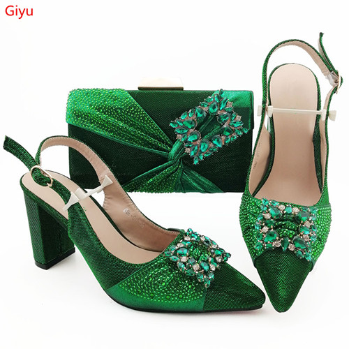 Doershow African Wedding Fashion Shoes And Bag Set Green Italian Shoes With Matching Bags Nigerian Women Party!!SJK1-35
