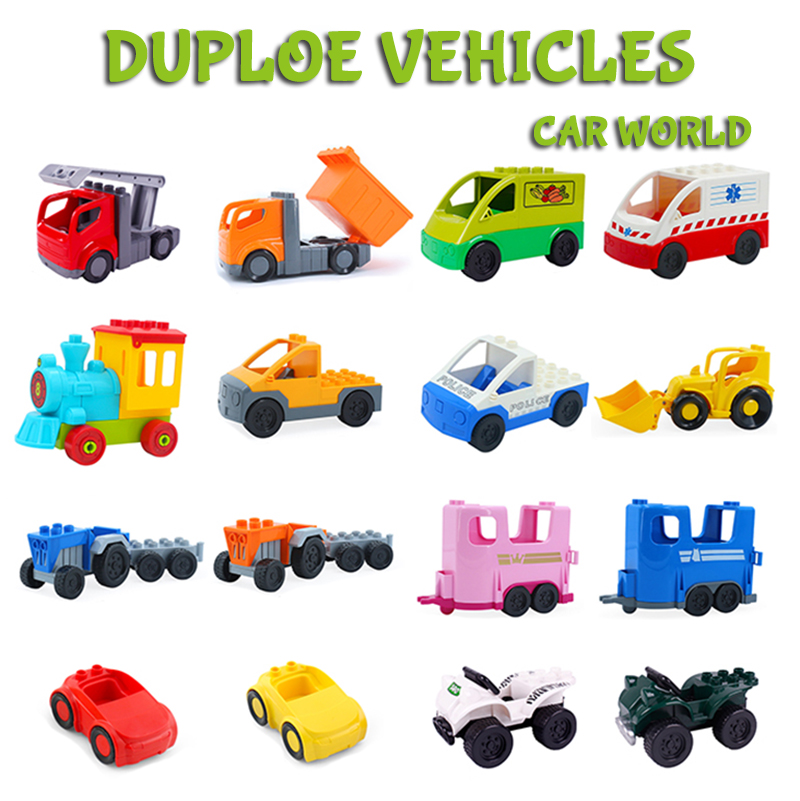 Big Size LegoINGlys Duploe Blocks Toys Duploed Cartoon Car Airplane Train Model Toys Trailer Car Building Blocks Bricks Toys