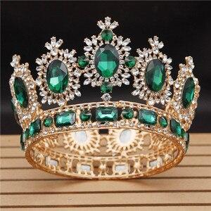 Image 5 - Ślub w stylu Vintage korona Big kryształ diadem i korony dla królowa stroik ślubny korowód biżuteria akcesoria do włosów