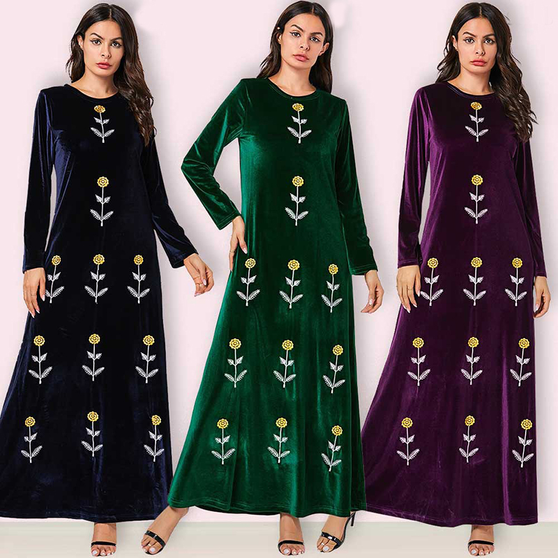 Robes grande taille Longue Maxi Floral broderie velours Robe femmes dames robes Sukienki Ropa Mujer Robe Longue Femme Elbise