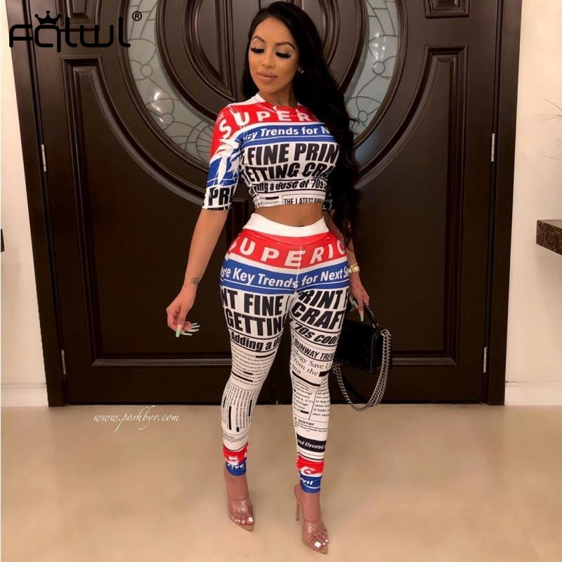 FQLWL Newspaper Print 2 Piece Set Women Outfits Fitness Sexy Crop Top And High Waist Pants Female Tracksuit Autumn Matching Sets