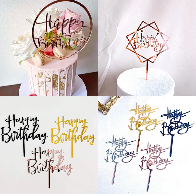 Promotional 2021 Happy Birthday Cake Topper Rose Gold Acrylic Cake Topper for Birthday Party Supplies Dessert Cake Decorations