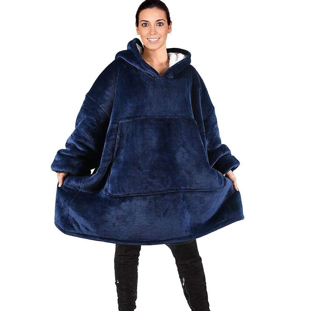 Cobertor com mangas mulheres oversized hoodie velo quente hoodies sweatshirts gigante cobertura de tv com capuz robe casaco feminino