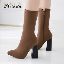 MAIERNISI fashion shoes women sock boots mid-calf Square heel high Plus size ladies