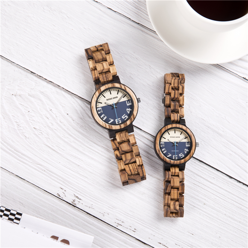 Handraft Zebra Wood Belt Couple Watches Man Ladies 2019 Luxury Quartz Wristwatch For Lovers Unisex Watch Montres Femme Hot C11