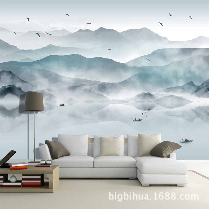 3D New Chinese Style Zen Ink Landscape Abstract Painting Nonwoven Fabric Wall Cloth Bedroom Wallpaper Mural