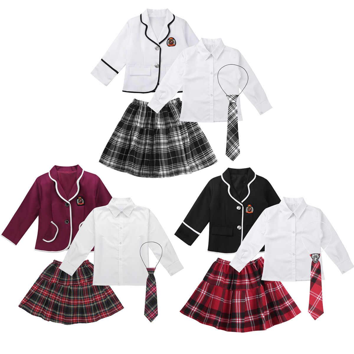 Niños Niñas uniforme escolar japonés británico Anime disfraz Cosplay fiesta Show conjunto abrigo con camisa corbata Mini falda estudiante ropa