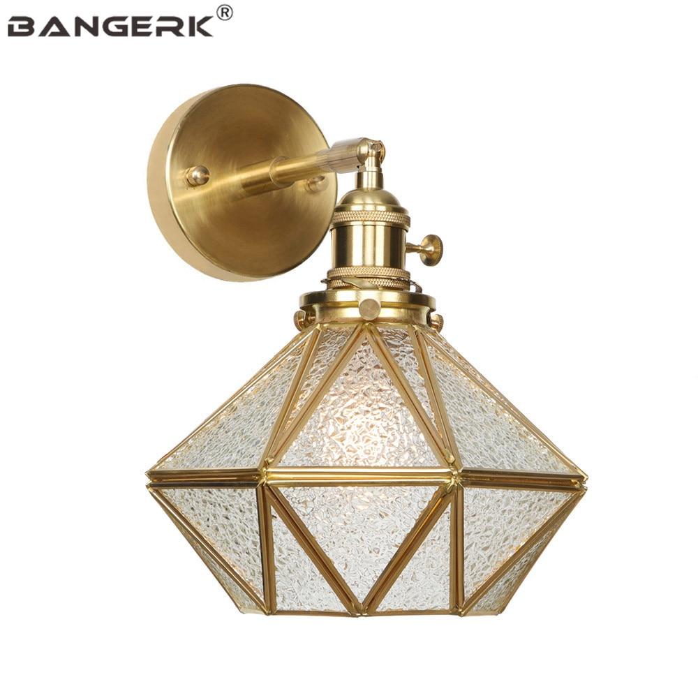 Antique Copper Glass Wall Light Loft Decor Switch LED Edison Sconce Wall Lights Vintage Adjust Bedside Wall Lamp Home Lighting