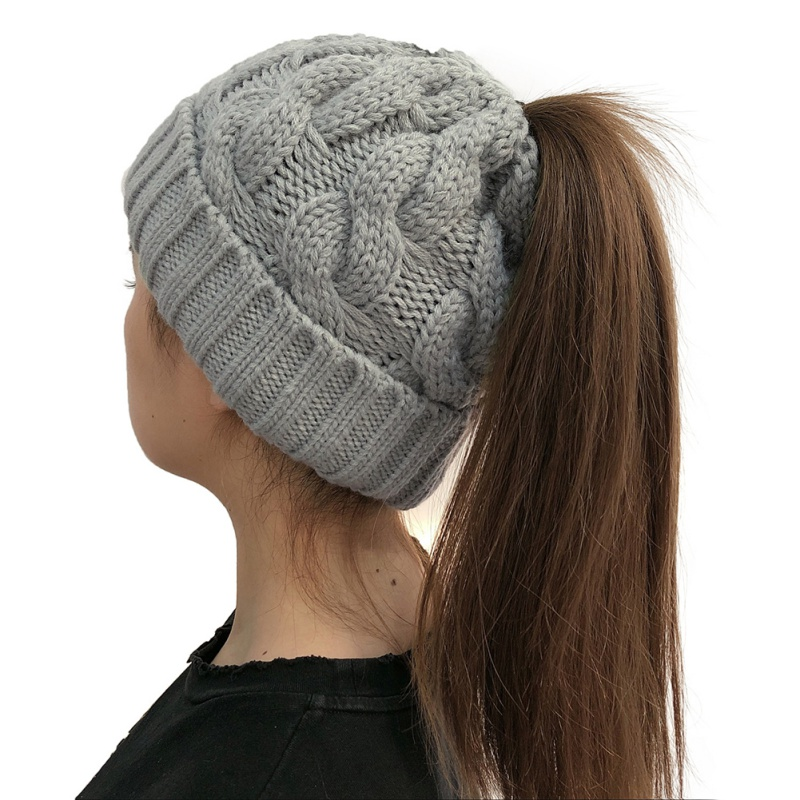 Hat Autumn And Winter Fashion Woman Knit Warm Innocent Bonnet Ponytail Warm Hat Roll Adjustable Wool Thick Solid Color