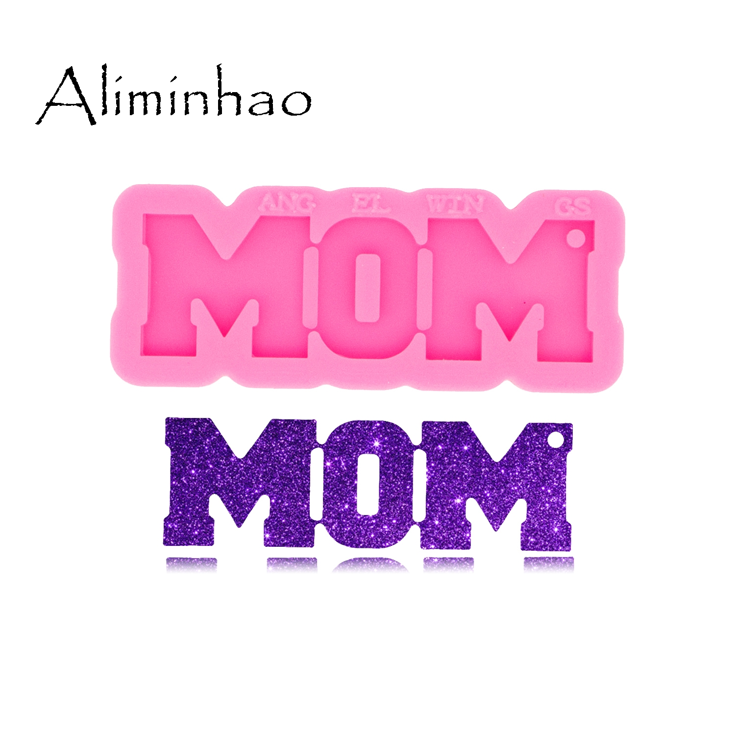 DY0531 Shiny Glossy MOM/DAD/SIS/ BRO/PAPA Keychain mold UV Resin Silicone Mould Craft For DIY Necklace Charms Making Jewelry