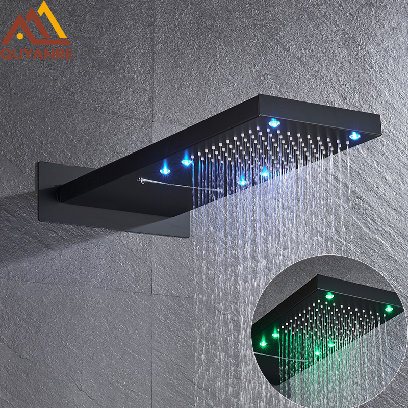LED Rainfall Waterfall Shower Head Brass Wall Mount  Shower Head Black Chrome Shower  Bathroom Shower Faucet Shower Sysyem Head