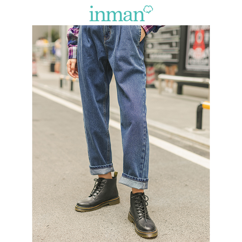 INMAN 2019 Autumn Winter New Arrival Mudium High Waist Fashion All Matched Slim Contrast Embroidery Women Pencil Jeans