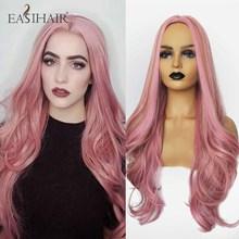 EASIHAIR Long WAVE Wigs สีชมพูสำหรับสตรีสังเคราะห์ Wigs กลางสีสันผมสูงอุณหภูมิคอสเพลย์ Wigs ความร้อนทน