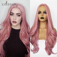 EASIHAIR Long Wave Pink Wigs for Women Synthetic Wigs Middle Part Colorful Hair High Temperature Cosplay Wigs Heat Resistant
