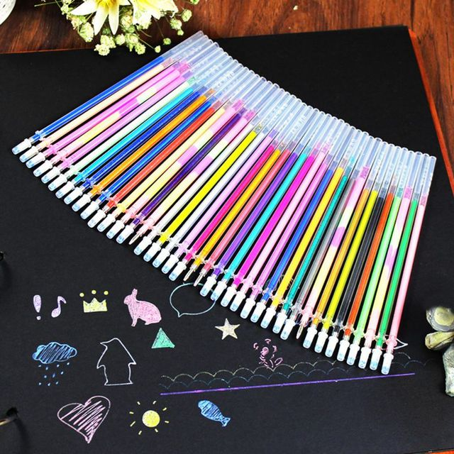 24/48 DIY Fluorescent Gel Paintings Drawing Pen Party Brushes Refills Watercolor Refills Office & School Home Colorful Pen 2