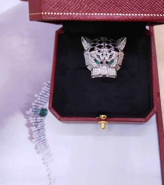 Créateur de mode bijoux de fête 3A zircon cubique panthère anneau tête d'animal léopard bague célèbre marque 6/7/8/9/10 taille