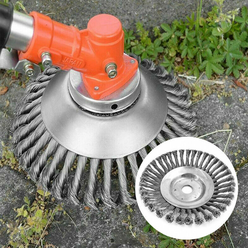 15/19cm Steel Wire Wheel Brush Grass Trimmer Head Weed Cleaning Tools Lawn Mower Grass Cutter For Garden Lawn CareTool Parts   -