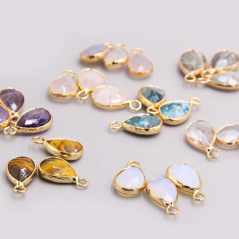 3pcs Single Hole Water drop loose pendant charm Natural Labradorite crystal agates tiger eye stone Pendants for jewelry making
