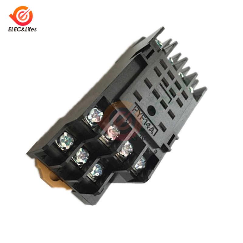 DC 12V 24V AC 220V MY4NJ Mini Relay Elektromagnetik Tembaga Coil Umum Micro Switch Power Supply Relay PYF14A 14pin Soket Base
