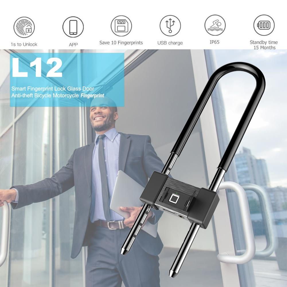 Smart Fingerprint Lock Glass Door Anti-theft Bicycle Motorcycle Fingerprint U-shaped Lock Anti-shear Anti-saw Anti-smash