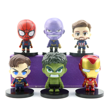 цена на 7cm 6pcs/set Justice League Avengers Figure Set Super Hero Spider Iron Man Characters Model PVC Doll Figures Marvel Toys Gift