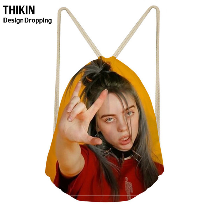 ThiKin 2019 Hot Billie Eilish Print Fashion Drawstring Bag For Girls Travel Capacity Backpack Aily Softback Lady Beach Mochila