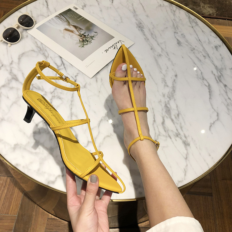 Sandals Stiletto Heels Fashion Womens Shoes 2020 Slip-on Loafers Summer Women's Suit Female Beige Buckle Strap Luxury Ladies(China)