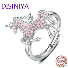 DISINIYA Licorne Moon Horse Free Size Rings for Women 925 Sterling Silver Femme Pegasus Design Wedding Engagement Jewelry SCR557