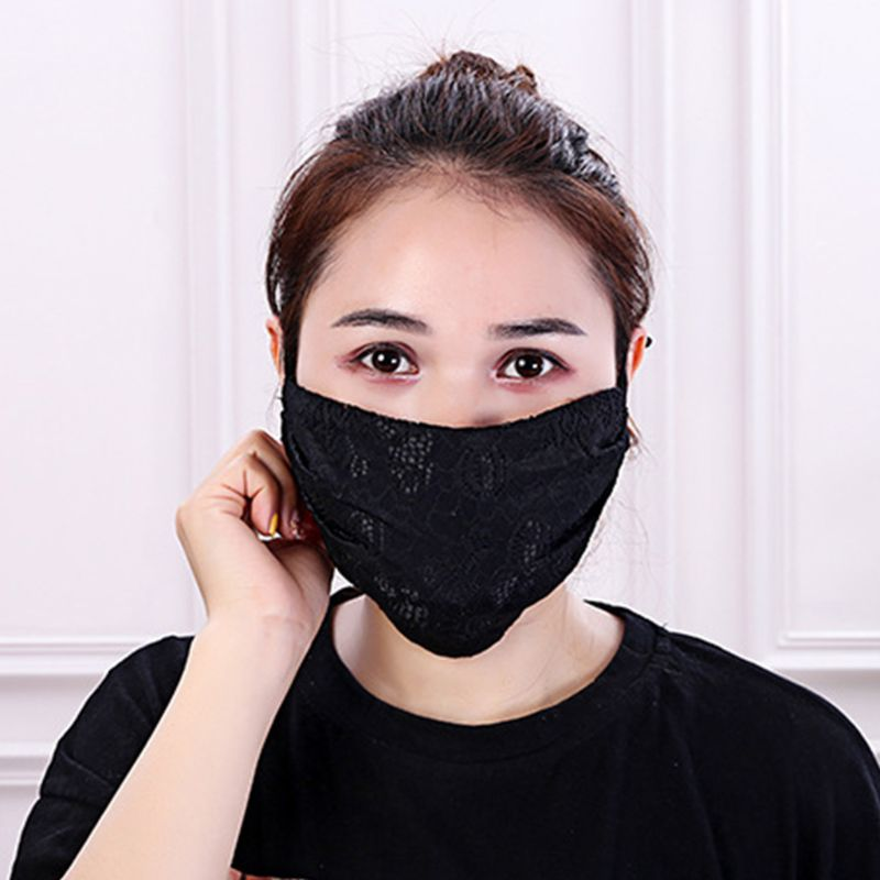 Women Crochet Floral Lace Winter Warm Mouth Mask Anti Dust Windproof Respirator