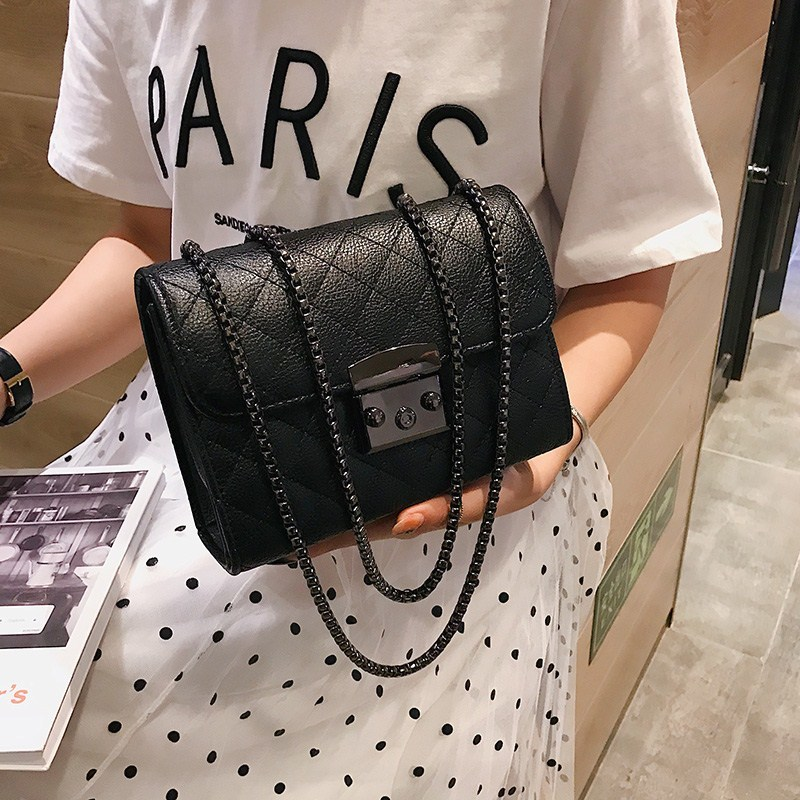 Small Messenger Chain Bag For Women 2019 Pu Leather Ladies Black Crossbody Bags Designer Luxury Woman Summer Shoulder Modis WE12