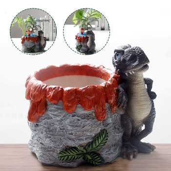 New New Design Flowerpot Resin Dinosaur Crafts Plant Pot Garden Decorative Flowerpot Desktop Decor Vase Home Decor