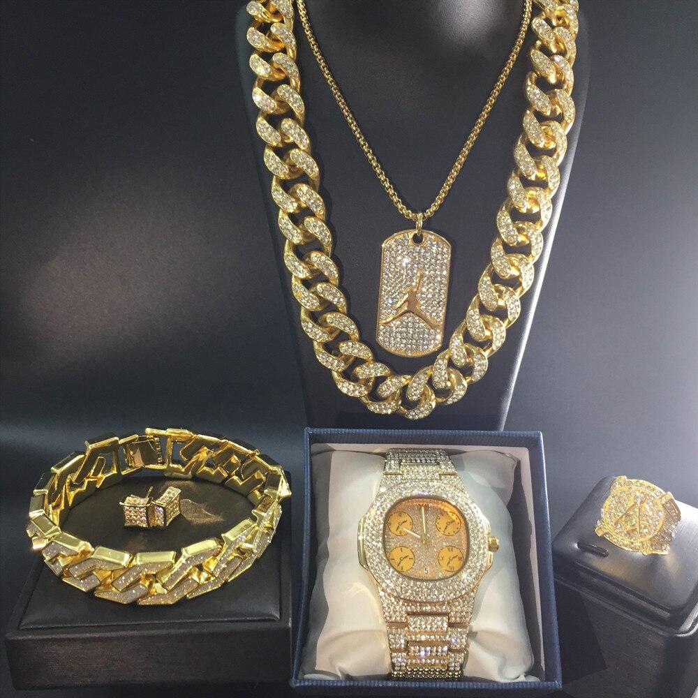 Luxe hommes or montre Hip Hop hommes montre & collier & Bracelet & bague & boucles d'oreilles ensemble Combo Ice Out cubain Hip Hop bijoux pour hommes