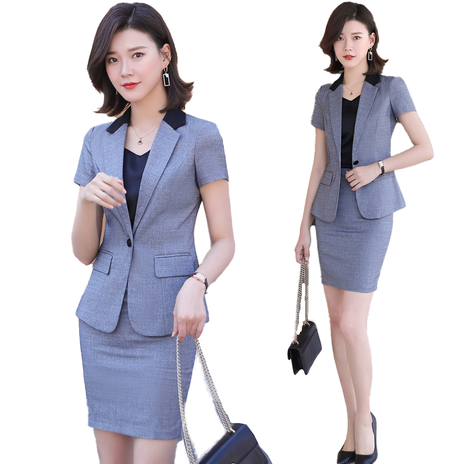 Summer Ladies Grey Blazer Women Business Suits With Skirt And Jacket Sets Short Sleeve Work Wear Uniforms Blazer Skirt Suit Set