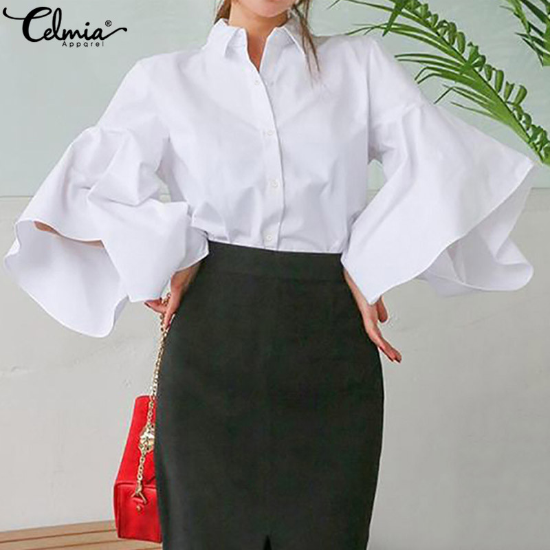 Celmia Women's Blouse Flare Sleeve Stylish Tops Spring Autumn Lapel Casual Loose Elegant Office Ladies Shirts Solid Blusas S-5XL
