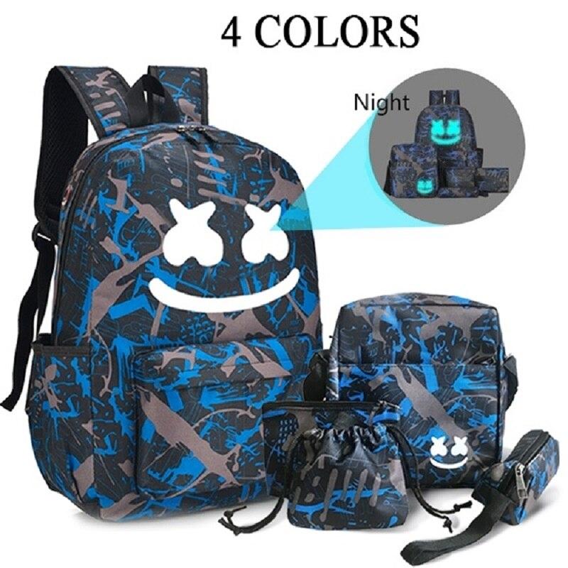 Fashion 5-piece Smiley Luminous Student School Bag Outdoor Waterproof Mountaineering Bag
