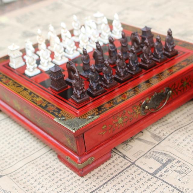 Pliant en bois International jeu d'échecs en terre cuite guerriers pièces d'échecs jeu d'échecs noël cadeau conseil emballage mot échecs 2