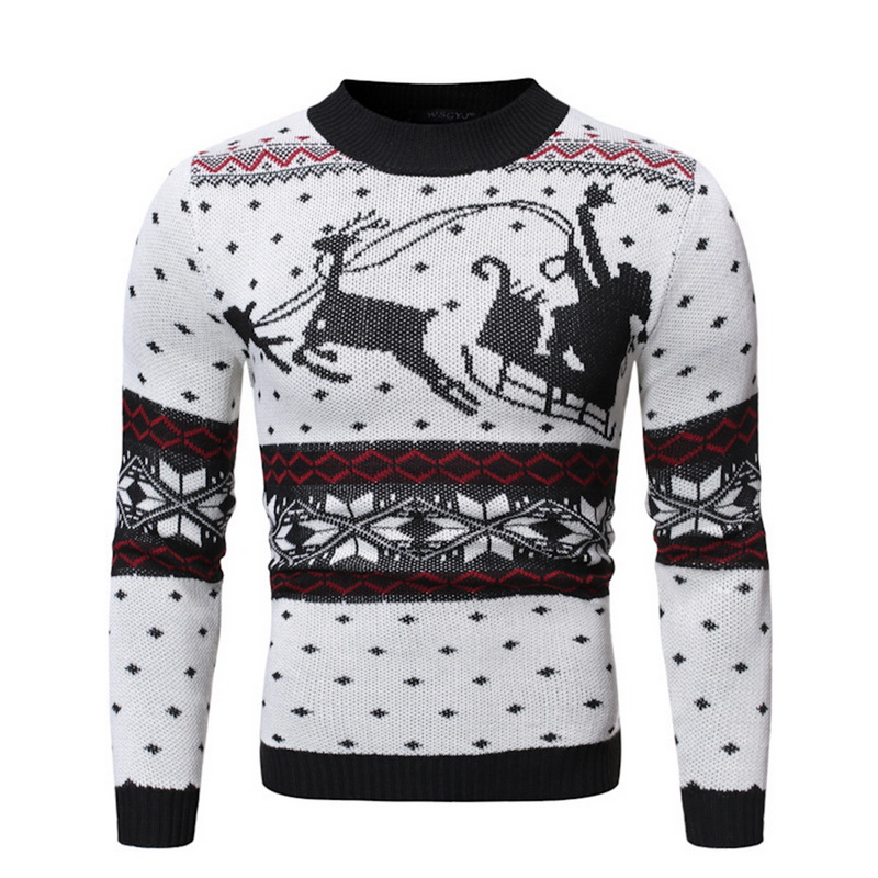 Christmas Men Sweaters Warm Wool O-neck  Knitted Winter Pullover  2019 New Long Sleeve Christmas Deer Printed Sweater Men Tops