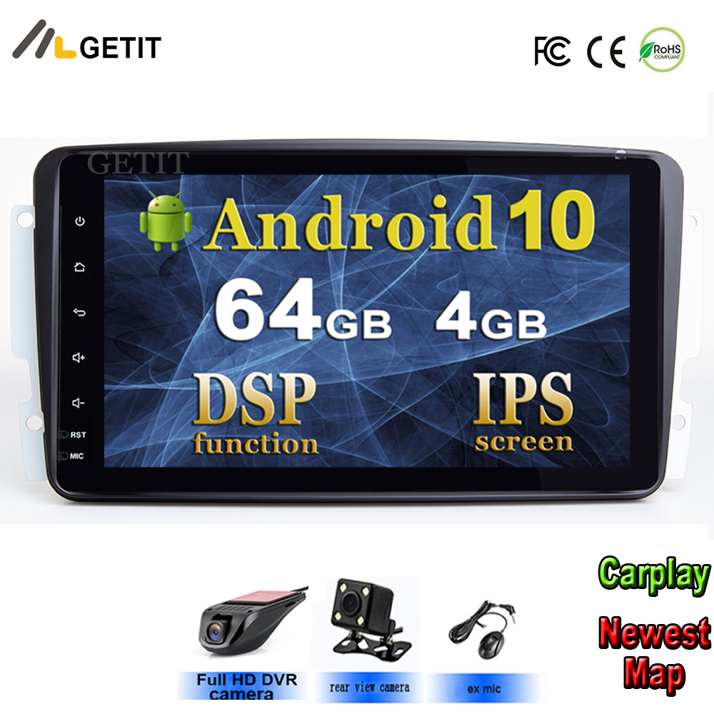 Dsp ips 8 android android android 10 reprodutor de rádio multimídia do carro para mercedes/benz/w209/w203/m/ml/w163/viano/w639/vito gps estéreo bt wifi