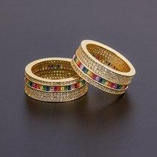 Bague en cuivre cubique de luxe pour femmes, anneau géométrique de style Boho arc-en-ciel, couleur or, cristal, bijoux fins de fête de mariage, nouvelle collection