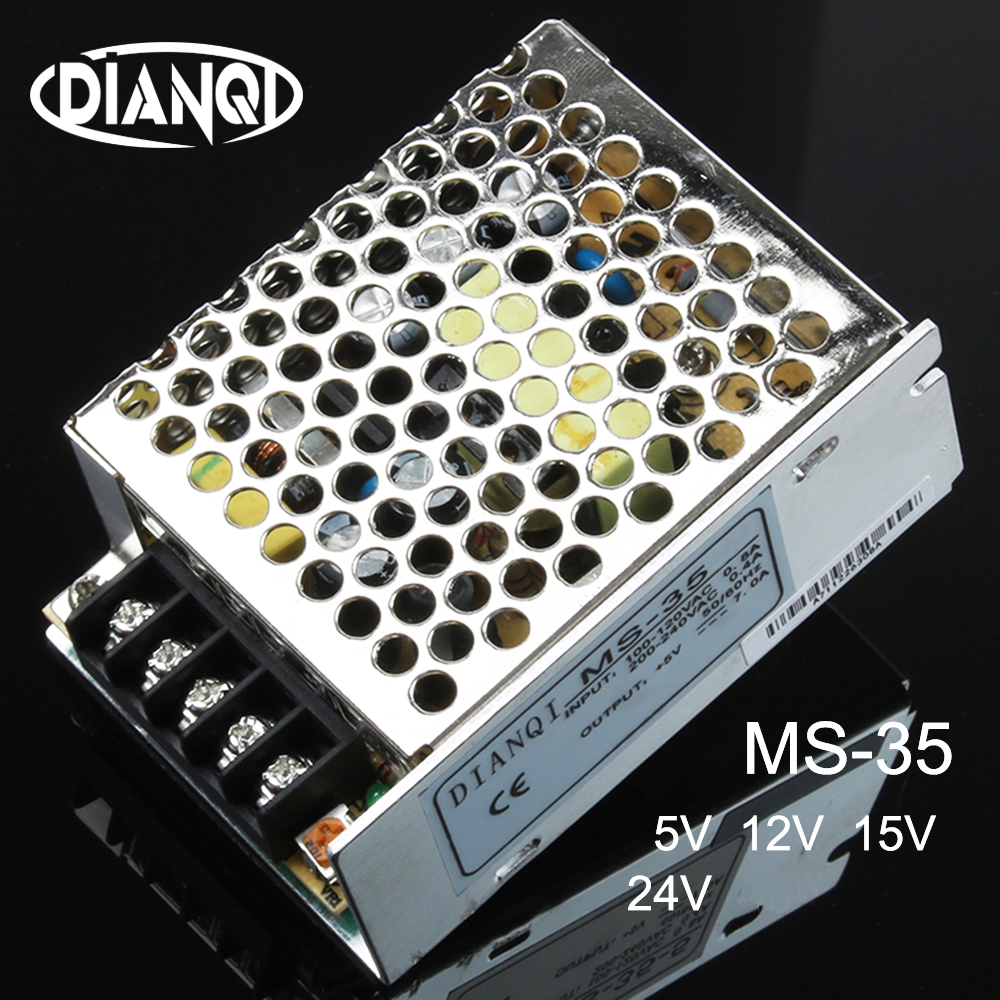DIANQI MS-35-5 MS-35-12 MS-35-24 schaltnetzteil einheit MS-35w 5 v 12 v 15 v 24 v 48 V mini größe din led ac dc konverter