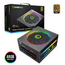 GameMax Power Supply 850W Fully Modular 80+ Gold Certified with Addressable RGB Light Vairous Color Mode for PC Power Supply